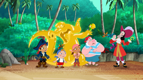 "CAPTAIN JAKE AND THE NEVER LAND PIRATE - ""The Golden Hook"" - Captain Hook finds the Golden Hook, which turns anything it touches into gold. This episode of ""Captain Jake and the Never Land Pirate"" airs Saturday, October 17 (8:00 AM - 8:30 AM ET/PT) on Disney Junior. (Disney Junior)JAKE, CUBBY, TIC TOC CROC, IZZY, MR. SMEE, SKULLY, CAPTAIN HOOK"