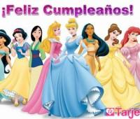 Tarjetas de feliz cumpleaños con las princesas