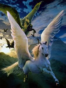 pegasos-blancos-y-negros-volando-por-el-cielo-y-el-espacio-de-los-mitos