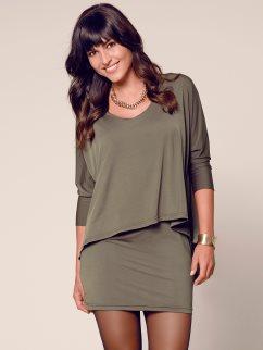 vestido-manga-3-4-efecto-doble-punto-elastico-caqui