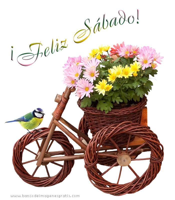 feliz sábado bicicleta de madera con mensajes especiales para el face