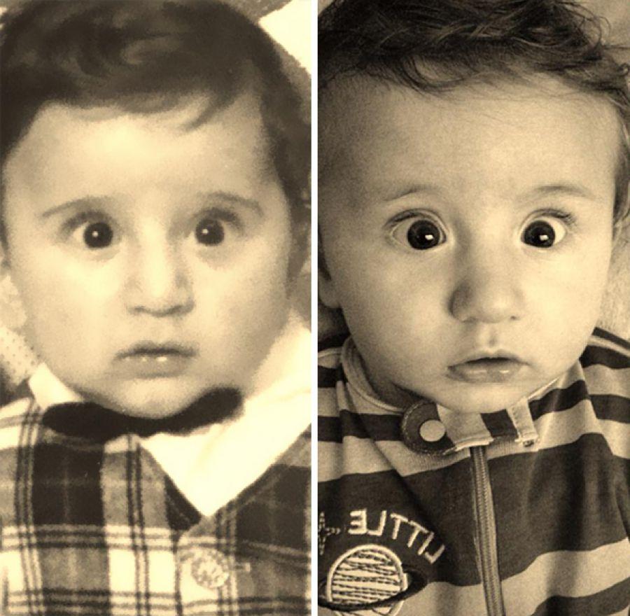 padre cuando era pequeño y su hijo de la misma edad