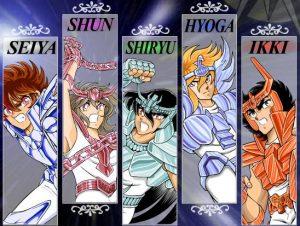 los caballeros del zodiaco, cada personaje  con sus nombres