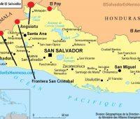 mapa del salvador con sus fronteras