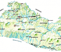 Mapa del salvador con  sus ríos