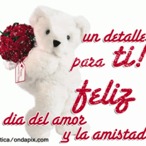 oso blanco con rosas