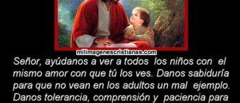 Jesús con frases cristianas y niños