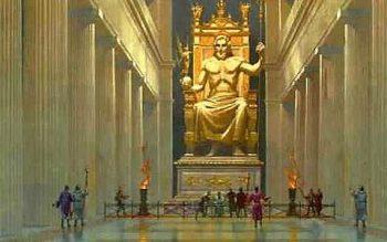 La estatua del dios zeus catalogada como una de las siete maravillas del mundo antiguo