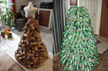 árbol de navidad con madera, y latas