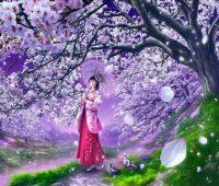 Imágenes de paisajes de cerezos anime