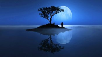 Paisaje de pareja bajo la luna