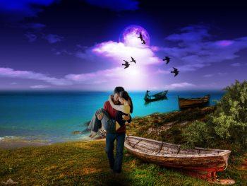 hombre cargando a una mujer en un paisaje con lancha