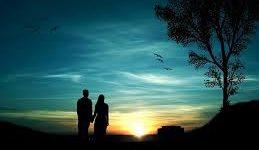 pareja romántica con paisaje