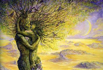 pareja de fantasía en árbol