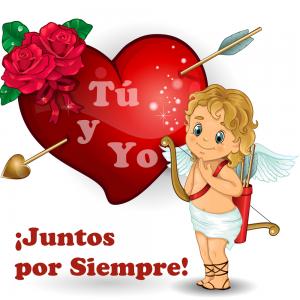 Angelito con corazón rojo con flecha