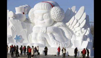 Angelito de hilo en la ciudad de hielo